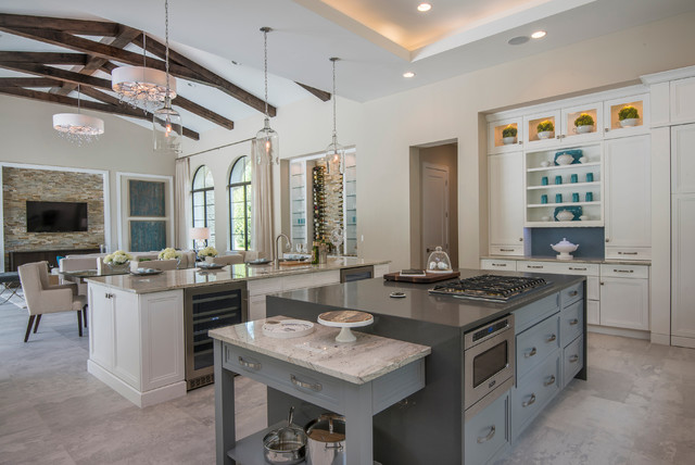 Kenroy Home Kitchen Mediterranean with Cathedral Ceiling Clerestory Cabinets Elegant Glamourous Glass Pendant Lights