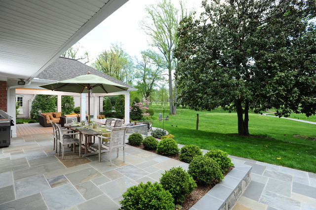 Kenroy Home Patio Traditional with Block Wall Bluestone Bluestone Patio Boxwood Flagstone Patio Grass