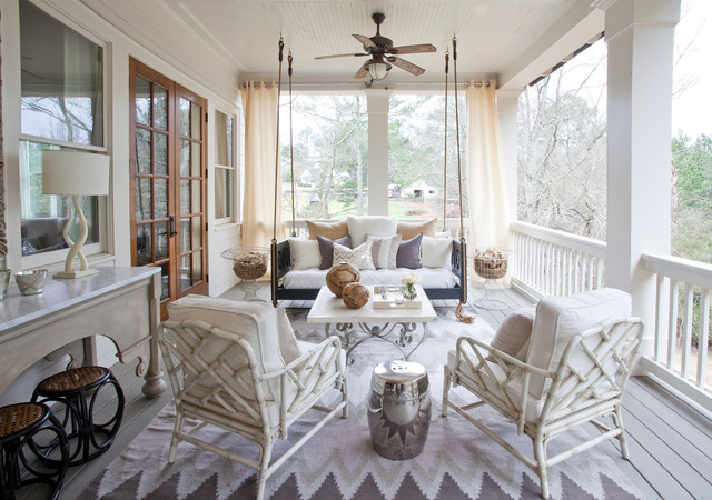 kichler fans Porch Traditional with ceiling fan chrome garden stool hanging porch swing indoor-outdoor