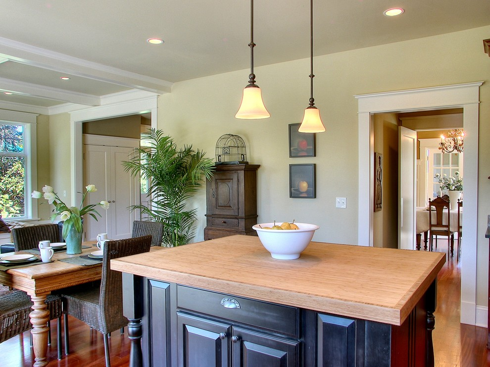 Kichler Lighting Kitchen Traditional with Butcher Block Craftsman Dining Table Green Island