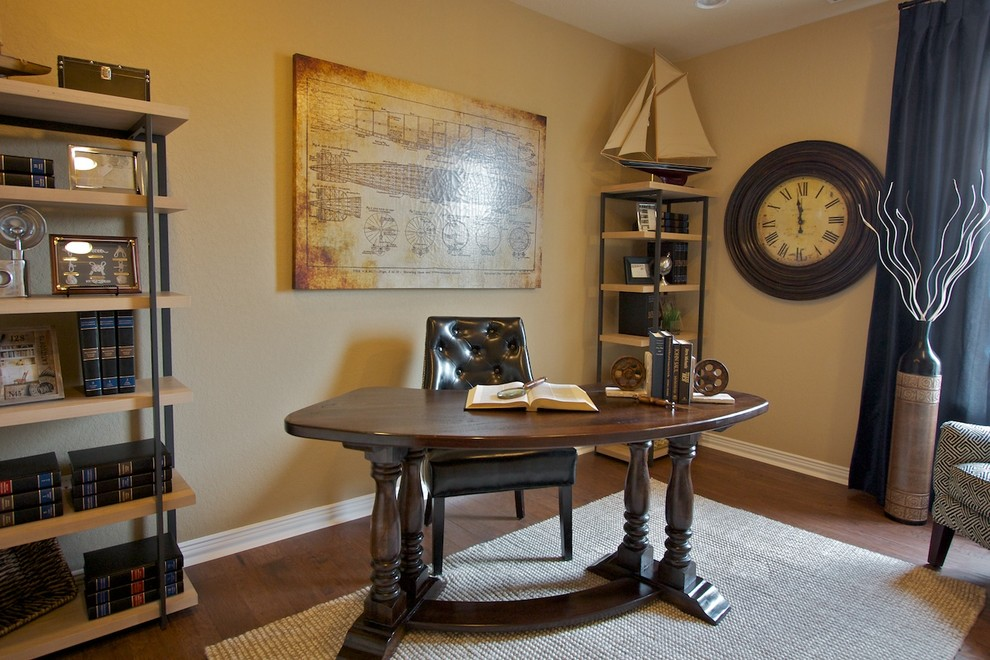 Kidney Shaped Desk Home Office Traditional with Antiques Blue Drapes Blues Books Clock Creams