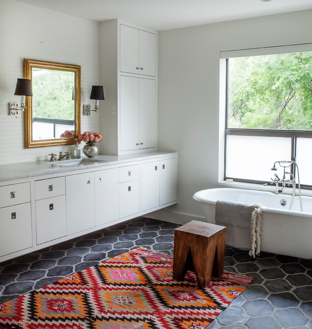 Kilim Rugs Bathroom Transitional with Gold Frame Mirror Rug Saltillo Tile Wall Sconces White