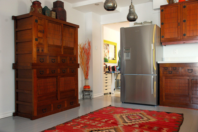 Kilim Rugs Kitchen Asian with Accessories Brown Japanese Cabinets Medium Tone Wood Pendant Lights