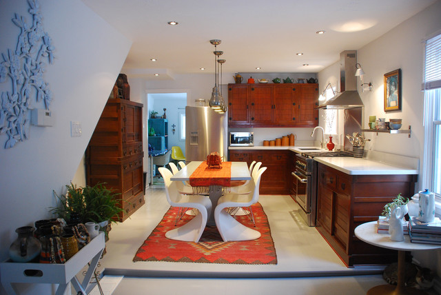Kilim Rugs Kitchen Southwestern with Dark Stained Cabinets Eat in Kitchen Hood Mid Century