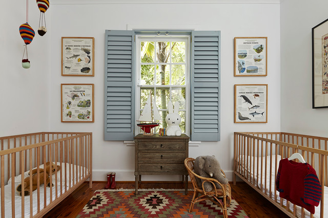 Kilim Rugs Nursery Eclectic with Baby Cot Blue Shutters Crib Louvered Shutters Nursery Nursery