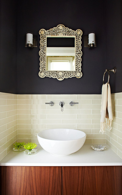 Kindred Sinks Powder Room Contemporary with Bellmont Benjamin Moore Iron Mountain Bowl Sink Caesarstone Dark