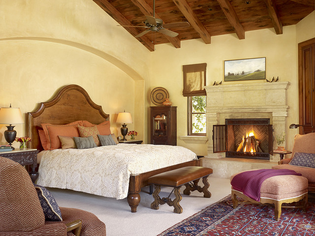 King Bedspread Bedroom Mediterranean with Area Rug Bed Pillows Bedside Table Ceiling Fan Earth