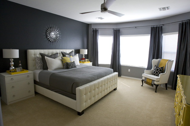King Coverlet Bedroom Contemporary with Accent Wall Bed Pillows Bedside Table Ceiling Fan Chest