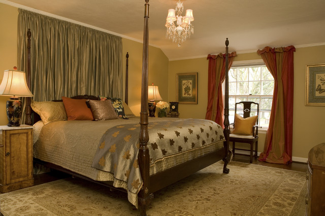 King Coverlet Bedroom Traditional with Area Rug Bedside Table Chandelier Chandelier Shades Curtains Decorative