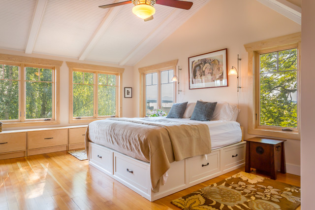 King Size Platform Bed Frame Bedroom Beach with Beach House Bench Seat Built Ins Ceiling Fan Platform Bed