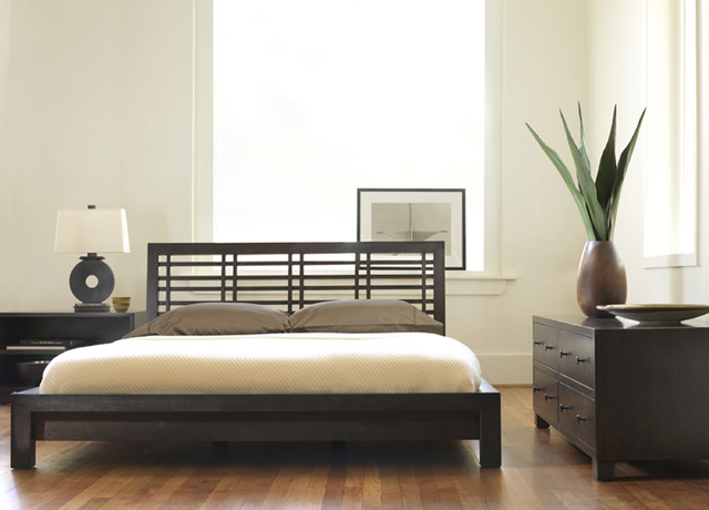 King Size Platform Bed Frame Bedroom Contemporary with Asian Bamboo Bed Baseboard Bedside Table Chest of Drawers