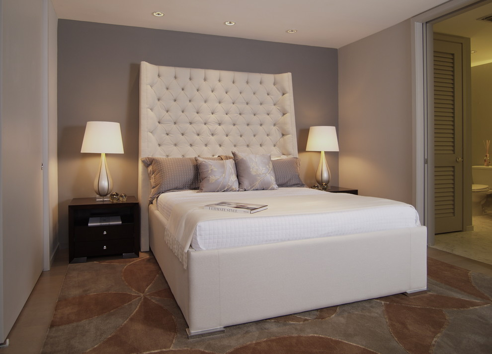 King Upholstered Headboard Bedroom Contemporary with Accent Wall Bedside Table Ceiling Lighting Decorative