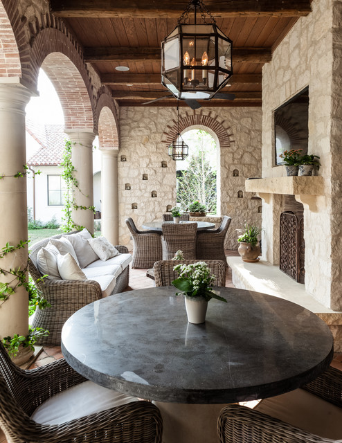 Kingsley Bates Patio Mediterranean with Arched Openings Brick Columns Lantern Pendant Light Loggia Outdoor