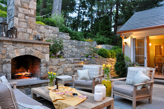 Kingsley Bates Patio Traditional with Beige Ottoman Outdoor Fireplace Outdoor Furniture Outdoor Living Outdoor