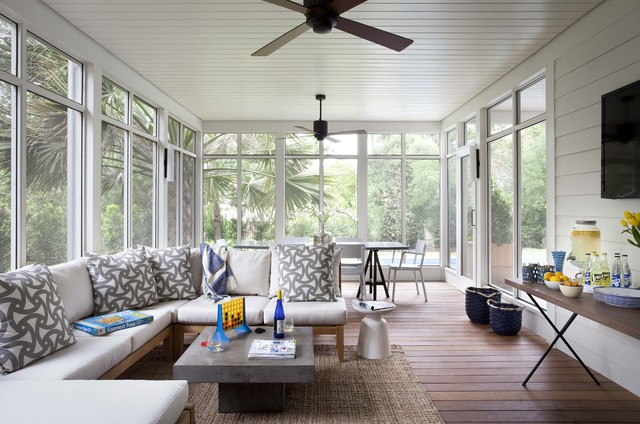 Kingsley Bates Porch Traditional with Accent Pillows Beverage Table Ceiling Fans Ceiling Paneling Enclosed
