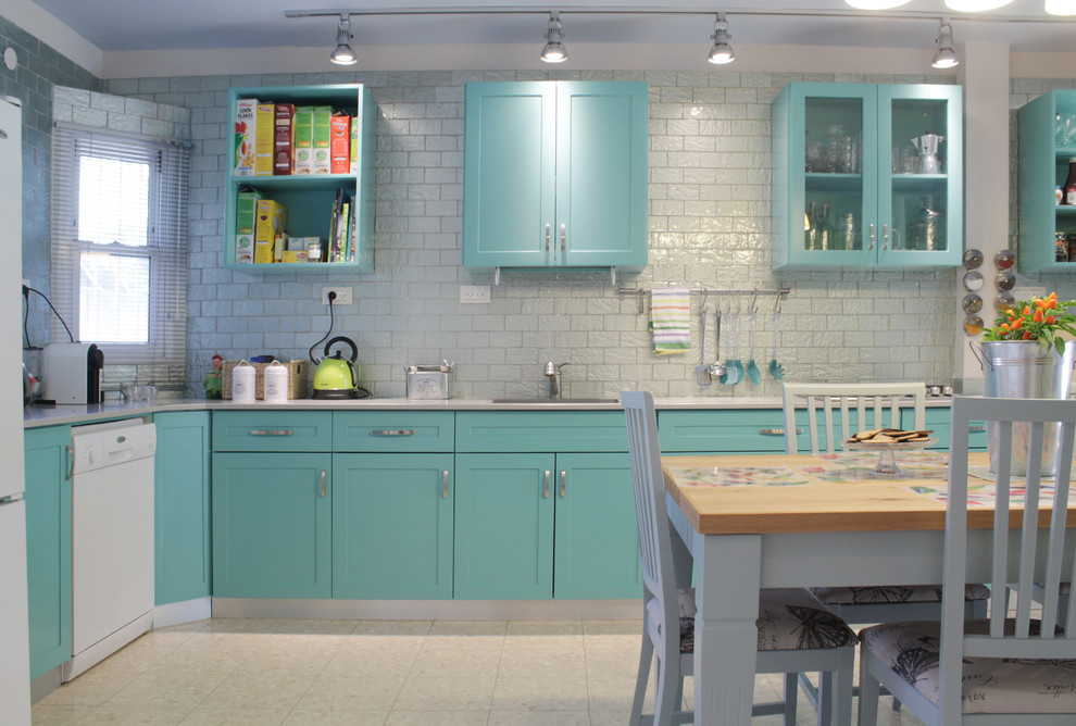 Kitchen Cabinet Refacing Cost Kitchen Contemporary with Blue Cabinets Blue Kitchen Blue Shelves Bright