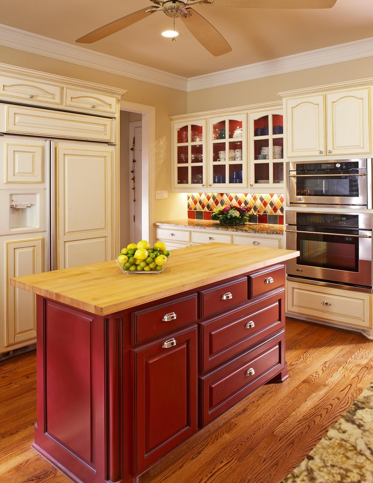 Kitchen Maid Cabinets Kitchen Traditional with Advantium Microwave Built in Fridge Butcher Block