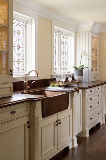 Kitchen Sink Soap Dispenser Kitchen Traditional with Apron Front Sink Beadboard Ceiling Lighting Copper Sink Crown