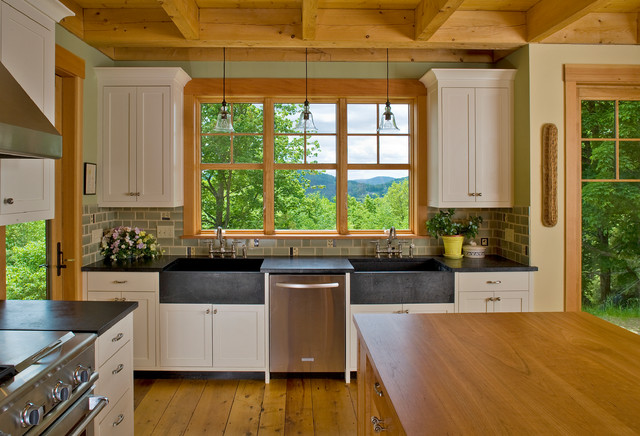 Kitchen Sink Soap Dispenser Kitchen Traditional with Beige Cabinets Beige Drawers Black Countertop Double Apron Sinks