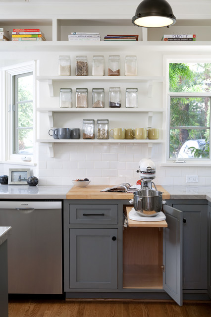 Kitchenaid Juicer Attachment Kitchen Transitional with Butcher Block Cookbook Storage Glass Storage Containers Open Shelves