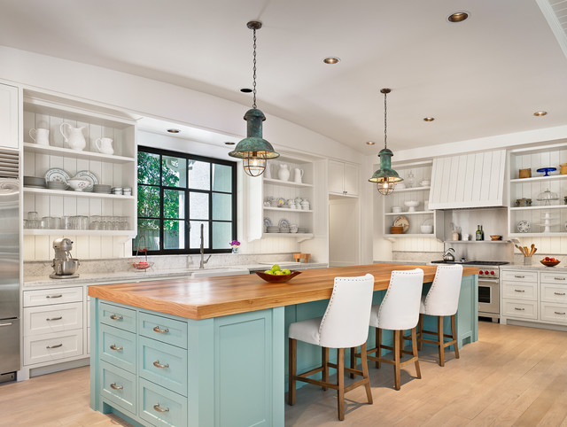 Kitchenaid Professional 600 Kitchen Beach with Blue Island Curved Ceiling Industrial Pendant Light Kitchen Island