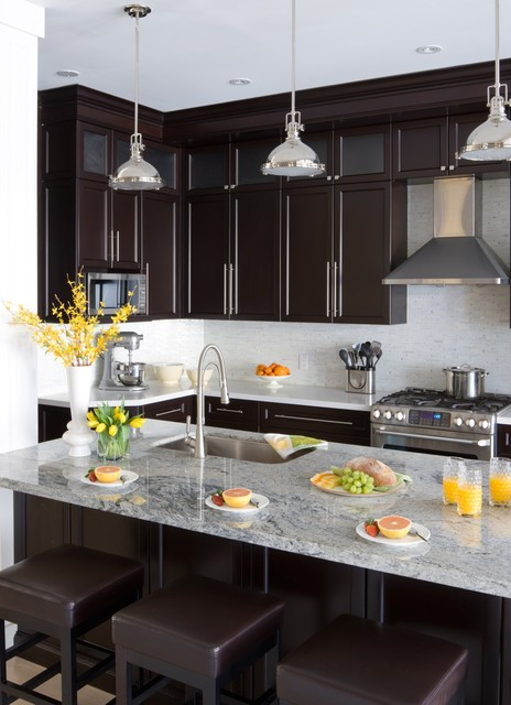 Kitchenaid Professional 600 Kitchen Transitional with Brown Bar Stools Brown Counter Stools Clerestory Cabinets Gray