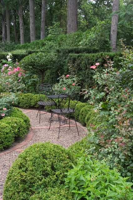 Klinker Brick Landscape Traditional with Brick Edging Cafe Table and Chairs Flowers Gravel Paving