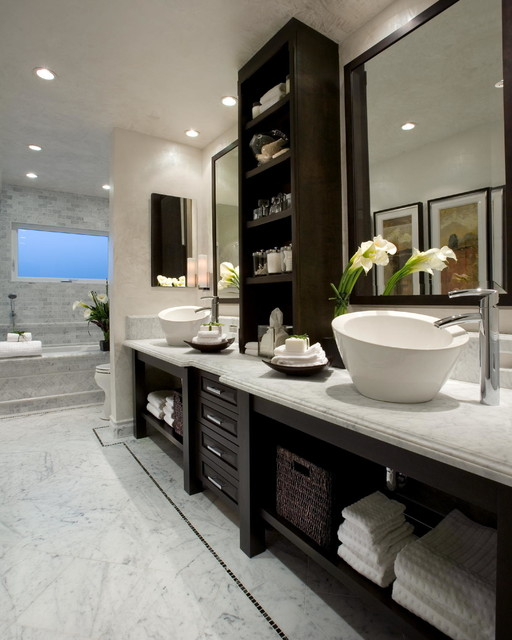 kohler bathtub Bathroom Contemporary with above counter sink dark wood cabinets double sink large