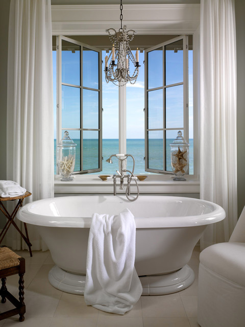 Kohler Bathtub Bathroom Contemporary with Casement Windows Chandelier Curtains Drapes Freestanding Tub Glass Canisters