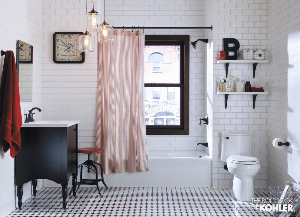 Kohler Bellwether Tub Bathroom Eclectic with One Piece Toilet Red and White Red And