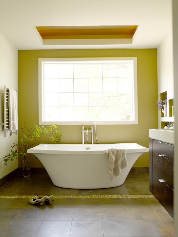 kohler-freestanding-tub-Bathroom-Contemporary-with-accent-wall ...