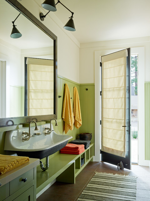 kohler santa rosa Entry Transitional with colorful accents green green wainscoting Interior Design kids bathroom