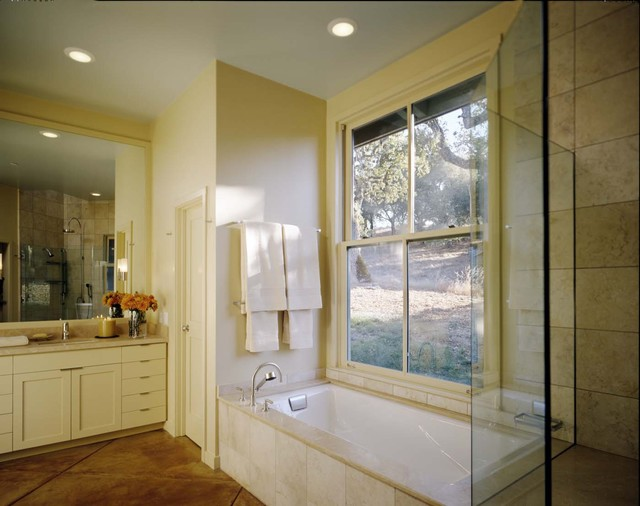 Kohler Tea for Two Bathroom Contemporary with Alcove Built in Shower Seat Ceiling Lighting Concrete Floors
