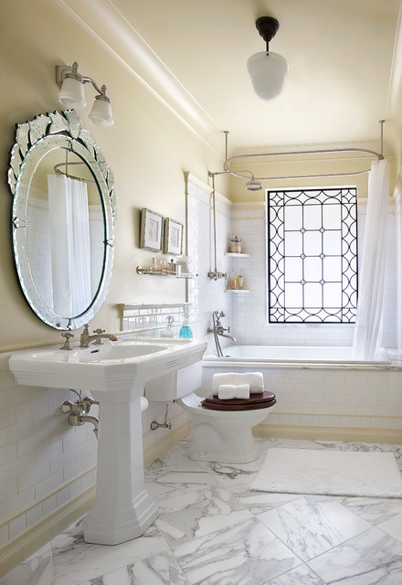 Kohler Tea for Two Bathroom Victorian with Accent Window Marble Floor Oval Mirror Shelf Shower Shower