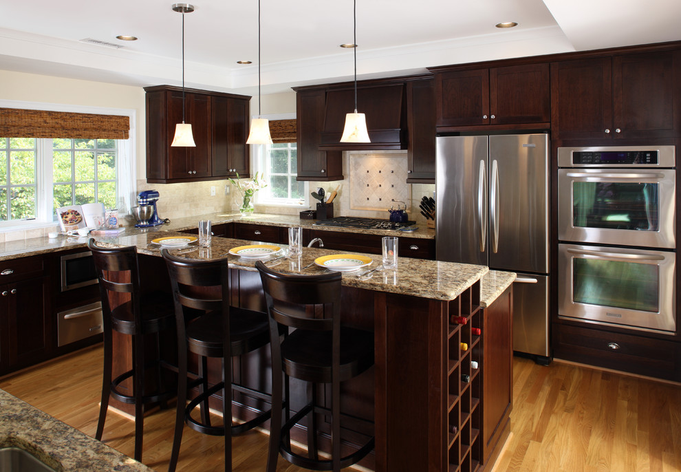 Kraftmaid Cabinet Reviews Kitchen Contemporary with Breakfast Bar Ceiling Lighting Dark Wood Cabinets1