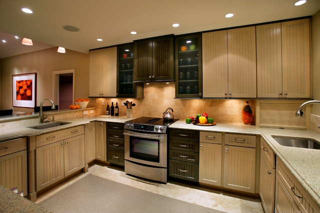 Kraftmaid Cabinetry Kitchen Traditional with Appliance Garage Beadboard Black Cabinets Ceiling Lighting Glass Front