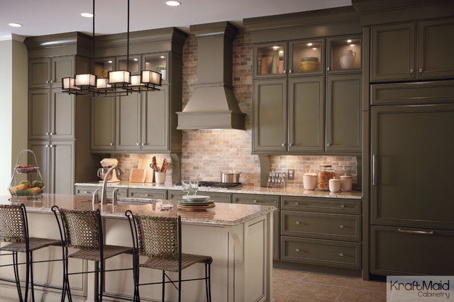 kraftmaid cabinetry Kitchen Traditional with beige kitchen island cabinets with glass green cabinet kitchen