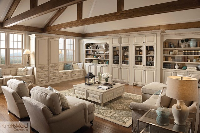 Kraftmaid Cabinetry Living Room Traditional with Bookcases Built in Built in Bookcase Wall Built In