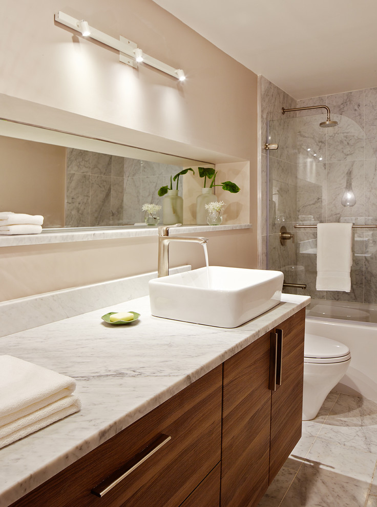 Kraus Faucets Bathroom Contemporary with Built in Mirror Interior Remodel Natural Light