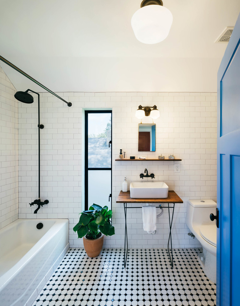 Kraus Faucets Bathroom Industrial with Barn Black and White Floor Tile Exposed