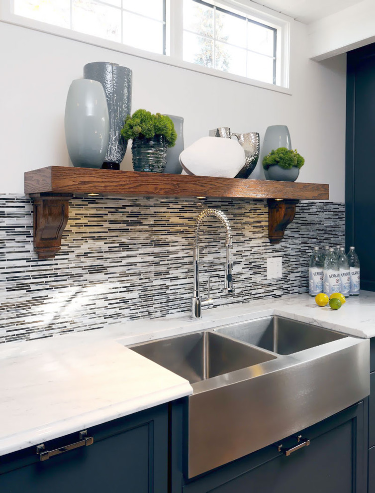 Kraus Faucets Kitchen Transitional with Apron Sink Blue Cabinets Collection Farmhouse Sink