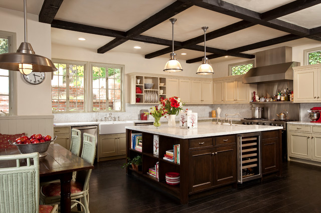 La Crosse Technology Clock Kitchen Traditional with Apron Sink Beverage Cooler Dark Stained Wood Farm Sink