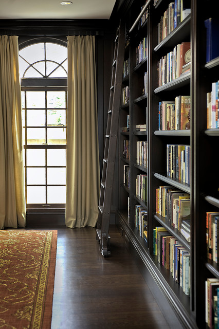 ladder bookcase Living Room Traditional with area rug bookcase bookshelves built in shelves crown molding