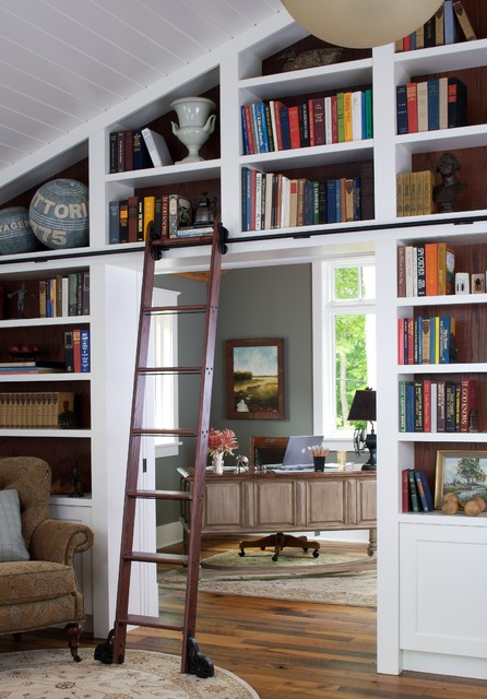ladder bookshelf Home Office Traditional with bookshelves built in shelves built in storage library library