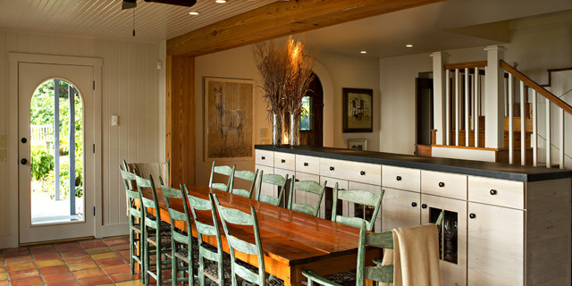 Ladderback Chairs Dining Room Eclectic with Arched Doorway Artwork Custom  Built Hutch Farm Table Green Ladderback. ladderback chairs Dining Room Rustic with centerpiece dark floor