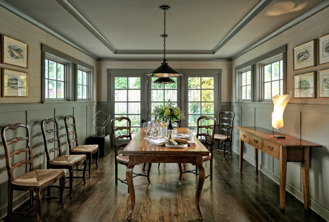 Ladderback Chairs Dining Room Traditional With Buffet Table Coffered Ceiling Console Formal French
