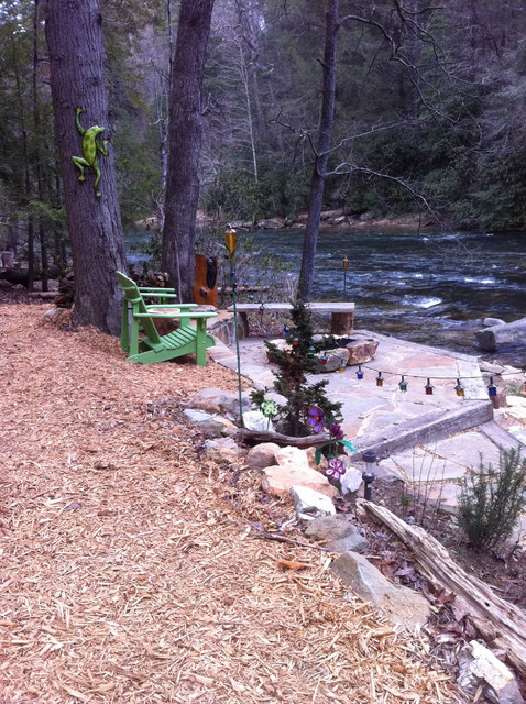 Lake Erie Vacation Rentals Landscape Eclectic with Adirondack Chairs Bark Mulch Fire Pit Flagstone Patio Green