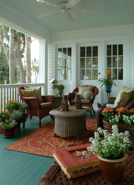 Lane Venture Outdoor Furniture Porch Eclectic with Beadboard Ceiling Blue Ceiling Ceiling Fan Glass Door Haint