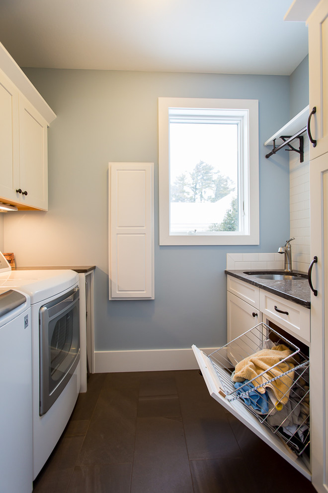 Laundry Hamper Laundry Room Beach with Blue and Brown Brown Granite Coastal Cottage