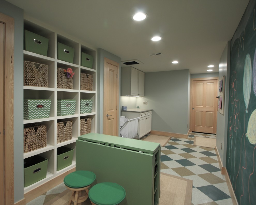 Laundry Hamper Laundry Room Traditional with Baseboards Basement Basket Built in Storage Ceiling Lighting